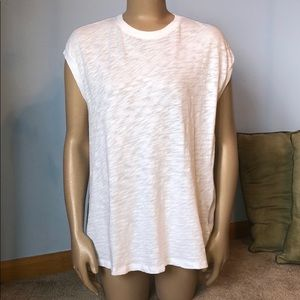 ATM White Cotton Pleated Back Hi-Low Tee Shirt